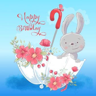 花と傘の中のかわいいウサギのイラスト