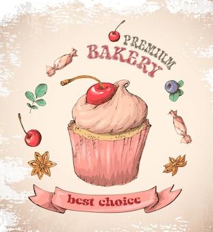 クリーム入りの甘いカップケーキ。ベクトルカードから設定