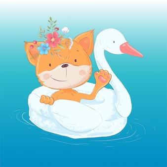Иллюстрация милой лисы на надувном круге в виде лебедя