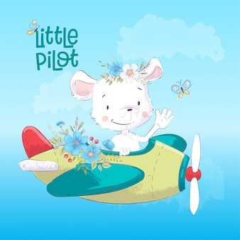 Детский рисунок милый маус на самолете