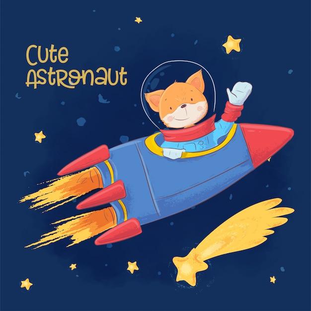 漫画のスタイルで星座と星の空間でかわいい宇宙飛行士キツネのはがきポスター。