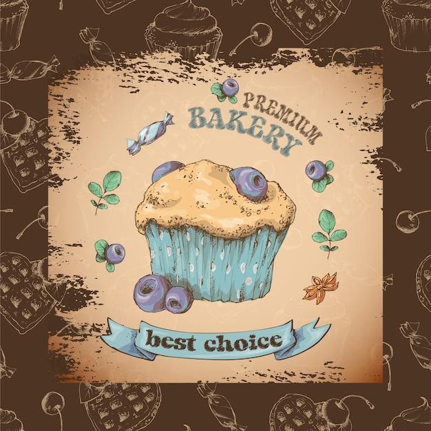 クリーム入りの甘いケーキ。ベクトルカードから設定