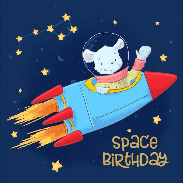 漫画のスタイルで星座と星が付いているスペースにかわいい宇宙飛行士マウスのイラスト。手描き