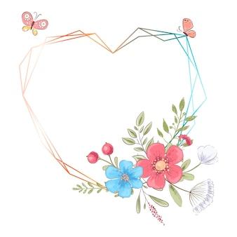 花とテキスト用のスペースの誕生日結婚式のお祝いのための水彩画のテンプレート。