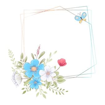 花とテキスト用のスペースの誕生日結婚式のお祝いのための水彩画テンプレート