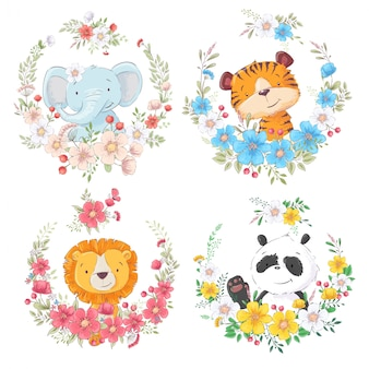 Набор из мультфильма милые животные слон тигр лев и панда в цветочные венки для детей клипарт.
