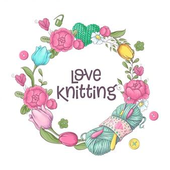 かぎ針編みや編み物のための要素そして付属品。