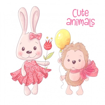 かわいい漫画の動物のウサギとハリネズミの手描き。ベクター