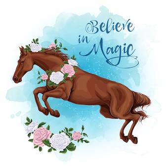 バラの水彩画の背景を持つ実行中の白い馬。