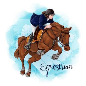 Женщина верховая езда. конный спорт.