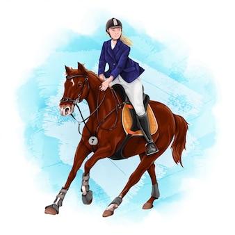 女性の乗馬乗馬スポーツ。