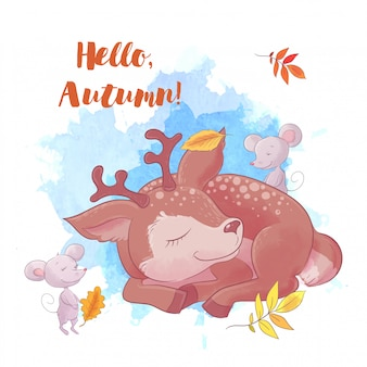 Милый мультфильм олень спит, осень и листья.