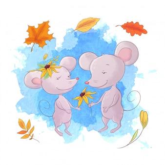 かわいい漫画のマウス、秋と葉。
