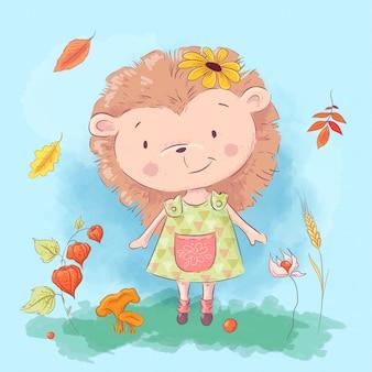 漫画かわいいハリネズミと紅葉と花
