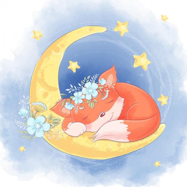 Мультяшная милая лиса с белыми цветами спит на луне