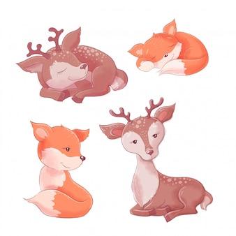 漫画かわいいキツネと鹿のセット