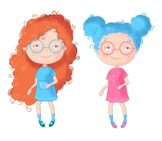 かわいい漫画の二人の女の子。