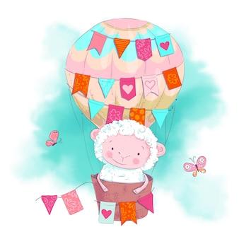 Милый мультфильм овец на воздушном шаре.