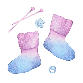 Акварельные мультипликационные носки и вязальные аксессуары. векторная иллюстрация