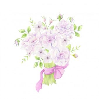 ピンクのリボンとローズヒップの花の水彩の花束。ベクトル図