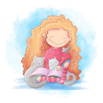 Милый мультфильм девочка читает книгу для двух кошек и мыши. векторная иллюстрация