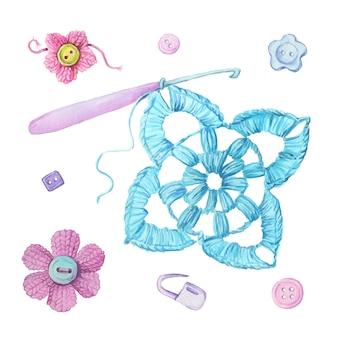 水彩漫画かぎ針編みモチーフと編みアクセサリー。ベクトル図