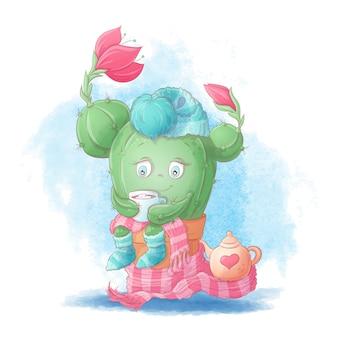 Милый мультфильм кактус девушка пьет какао в шарф и шапку.