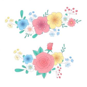 Набор рисованных букетов цветов