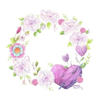 Акварельная иллюстрация венка из букета диких роз бледно-розового цвета и аксессуаров для вязания рукоделия