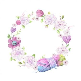 Мультфильм венок из трикотажных элементов и аксессуаров и весенних цветов. рука рисунок. векторная иллюстрация