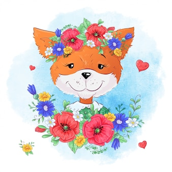 キツネの花のセット。手描きのイラスト