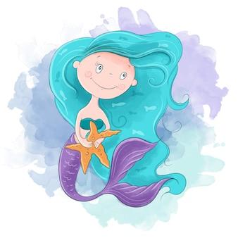 かわいい漫画の人魚の少女。ベクトル図