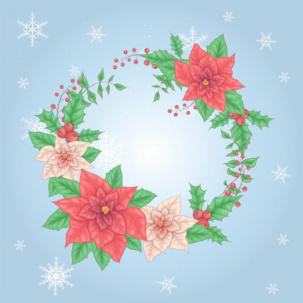 ポインセチアの花とヒイラギの果実のクリスマスリース。ベクトル図