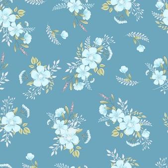 野生の花のシームレスなパターン。手描きのベクトル図