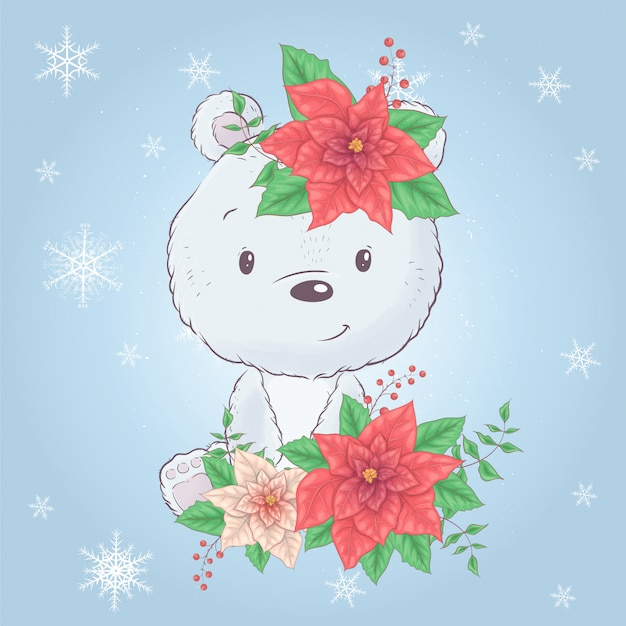 ポインセチアのかわいい漫画クリスマスクマ。