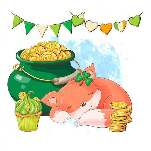 コインの鍋、聖パトリックの日のカードの近くで眠っているかわいい漫画キツネ。ベクトル図