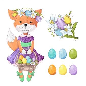 チューリップの花束と着色イースターエッグのかわいい漫画キツネ。ベクトル図