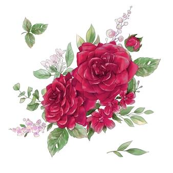 Большой набор акварели нежных роз супер качества.
