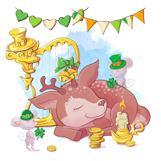 Милый мультяшный олень с арфой и монетами на день святого патрика