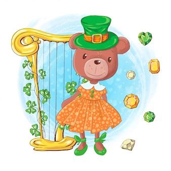 Милый мультфильм девушка медведь в шляпе гном с арфой и драгоценными камнями, открытка на день святого патрика. векторная иллюстрация