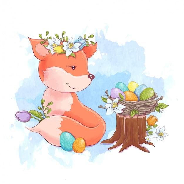 Милая мультипликационная лиса спит с гнездом разноцветных пасхальных яиц и весенних цветов