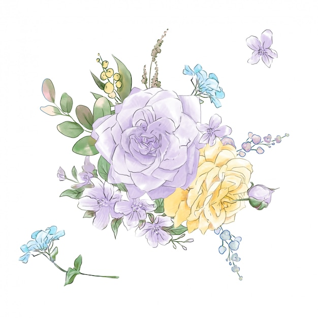 水彩画の柔らかいバラの大規模なセット超品質。