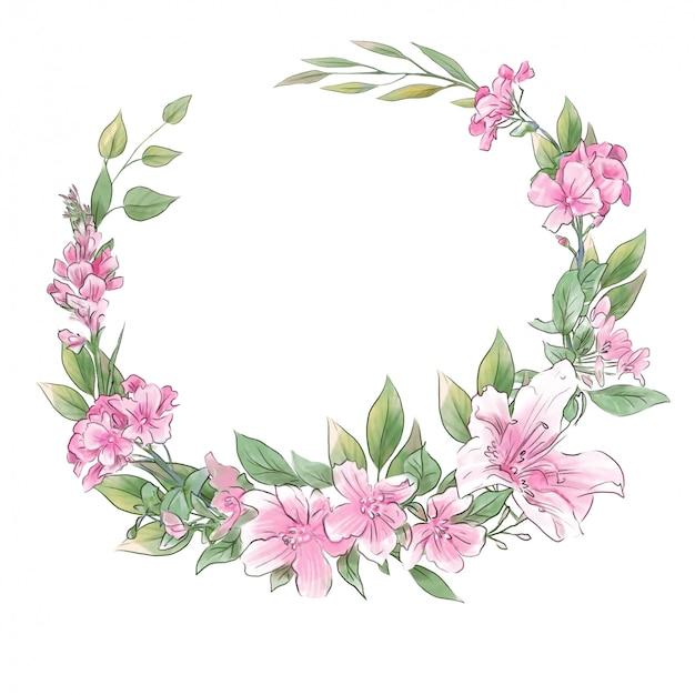 春の繊細な花の水彩手描きの花輪