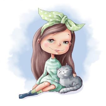 Милая мультипликационная девушка с кошкой и друзьями
