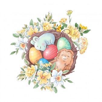 Симпатичная мультипликационная композиция ежик и мышка в гнезде с пасхальными яйцами и нежными розами