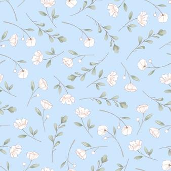 繊細なバラのシームレスなパターン。手描き