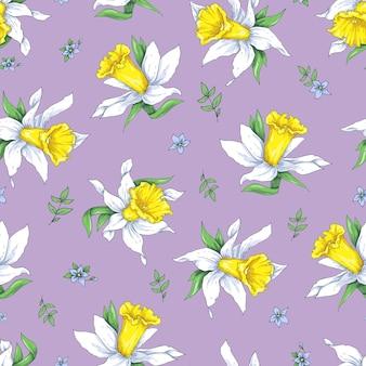エレガンス春の背景に花の水仙とシームレスなパターン