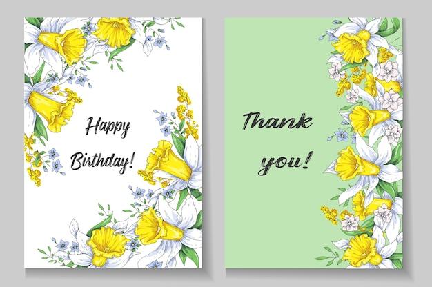 水仙を持つ美しい春のカード。ベクトル図。