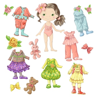 アクセサリーやおもちゃを着た服を着たかわいい人形。