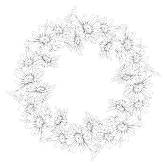 デイジーの美しいデリケートな花輪。